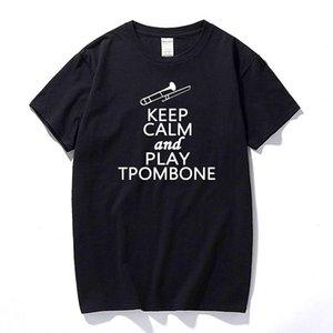 Shirts Keep Calm And Play Trombone Music Lover DT-Erwachsen-T-Shirt T-Mode-T-Shirt Männer Kleidung