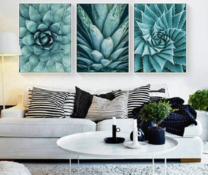 3 Panels Nordic Aloe Succulent Canvas Painting Minimalist Green Plant Poster Prints Wall Art Pictures for Living Room Modern Home Decor