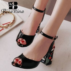 RizaBina Plus Size 31-46 Frauen öffnen Toe Sandalen Ankel Strap Thick-Absatz-Schuhe Mode-Druck-Office-Club Women Schuhe