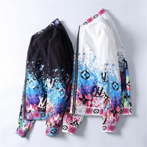 2020 Новая мода на молнии куртка Мужчины Зима Осень Slim Fit Мужские Конструкторы Одежда Red Мужчины Повседневная куртка Тонкий плюс размер M-3XL