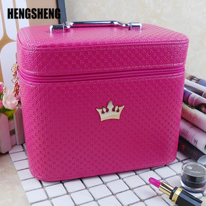 High Quality Cosmetic Bag Women Noble Crown Large Capacity Professional Makeup Organizer Portable Brush Storage Case ZF9531