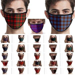 Maschera lavabile 3D Plaid Stampato Face For Donna Uomo Bambini Seta Bocca Ice Mask bambini antivento protettivo Designer Mask 32 stili WX20-36