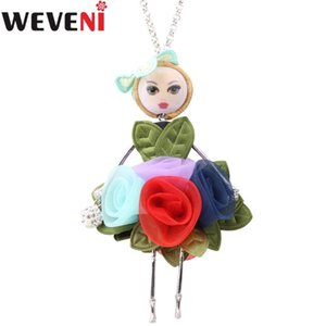 WEVENI Original Alloy Fabric Floral Leaf Dress French Doll Necklace Pendant Chain Collar Hot Women Trendy Jewelry Wholesale