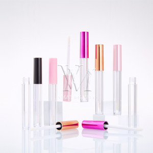 5 colores 2 ml Vaciar brillo de labios caja de plástico Contenedores de oro rosa rosa roja Lipgloss Negro Tubo Botella de contenedores Mini brillo de labios de Split