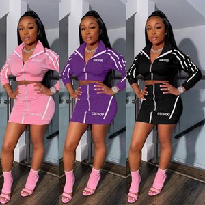 Streetwear Two Piece Set Women Suits Summer Club Neon Pink Outfits 2 Piece Skirt Set Tracksuit Female Ladies Matching Sets