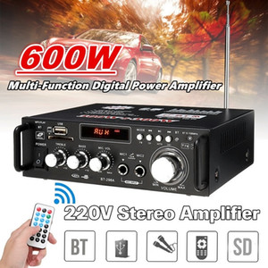 300W + 300W Home speaker power amplifier Multifunction Bluetooth HiFi Stereo Power Amplifier USB SD Digital Player Car Amplifier