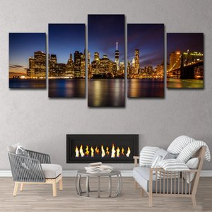 5 Panels Night Scenery In Brooklyn Bridge Oil Painting Modern Landscape Canvas Poster Prints Mural Wall Art Picture for Living Room Decor