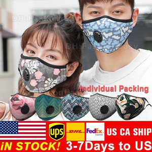 Reusable Face Mask Anti-Dust washable PM2.5 Masks with valve protective cotton face masks cloth washable mask with 2 filters inside