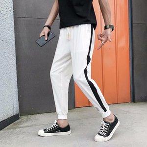 2019 Yeni Hong Kong tarzı ince erkekler rahat Cotton chinos pamuk keten ayak bileği uzunlukta keten uzun pantolon rahat pantolon gevşek