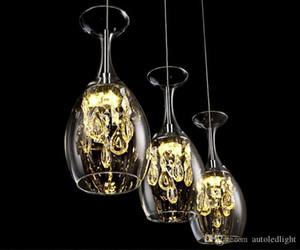 Moderne Cristal Bar Verres à vin Lustre Plafonnier Suspension LED d'éclairage LED Lampe suspendue salle à manger d'appareils d'éclairage Salon