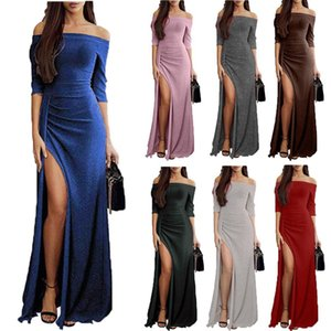 Summer Solid Color Women Spaghetti Sexy Long One-collar Dress Maxi Dresses Milk Fiber Sleeveless Bodycon Beach Travel Party Dresses A136
