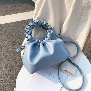 Retro Pouch Totes Bag Women Leather Clutches Purse Women Vintage Ruched Shoulder Bags For Women Handbag Female Hobo