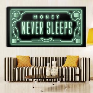 Imprimir dinheiro nunca dorme HD Canvas Cotações nórdicos Carta Dinheiro Art arte casa decoração pintura de parede impressão em tela cultura de escritório arte