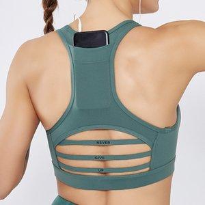 Bolso Gym Voltar Yoga Sports Bras Never Give Up oco Stripe grenadine elabora a aptidão Tops Activewear ciclismo Correndo desgaste do esporte bra