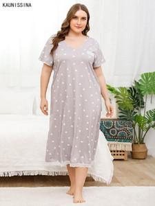 Женские сонные одежды плюс ночное платье женщин Chemise Nightgown V-образным вырезом с коротким рукавом кружева леди Lounge Long домашняя одежда