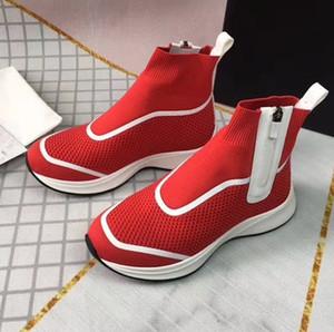 Üst Kalite B25 Yüksek Top Sneakers Erkek Kadın Örme Hız Eğitmenler Siyah Beyaz Kırmızı Örgü Kumaş Çorap Ayakkabı Kutusu ile Yan Zip