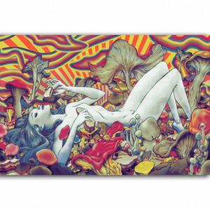G323 Trippy Fille de beauté Champignon Affiche d'art de la soie Peinture de lumière toile Impression d'affiches Décoration d'intérieur mur CNNP #