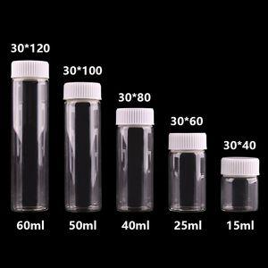 15ml 25ml 40ml 50ml 60ml bottiglie di vetro trasparente con White Plastic Vite piccolo vaso Fiale mestiere di DIY 24pcs T200507