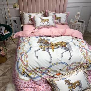 WA LAN 60S Muito boa qualidade de conjunto de folhas de algodão egípcio / Imprimir Cavalo de cama / cetim rei folha plana Rainha edredon Consolador Tampa / Fronhas