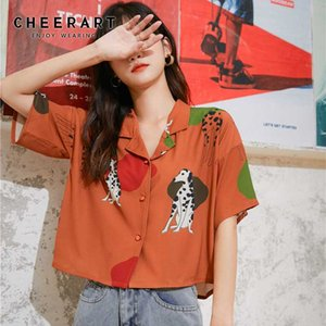 CHEERART Dog Animal Print Korean Woman Shirts Casual Short Sleeve Lapel Button Up Summer Blouse Women Tops And Blouses
