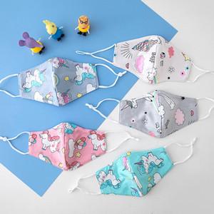 Licorne enfants Masque coton doux lavables réutilisables pour enfants Cartoon Masque Imprimé anti-poussière bouche Masques de protection extérieure HHA1468