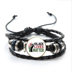 Siyah Hayatlar Matter Bileklikler Çok katmanlı Sarma Wax Halat örgülü bilezik Can Protesto Bilezikler Takı Breathe değil