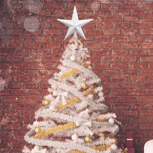 20cm White Christmas Tree Star Toppers Plastic Merry Xmas Ornament Home Party New Year Festival Decorative Accessories