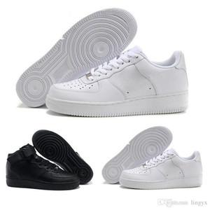 2017 de calidad superior de las nuevas mujeres de la moda AF1 07 bajo la parte superior de alta zapatos casuales de cuero blanco negro amor unisex uno 1 envío libre 36-45 euros