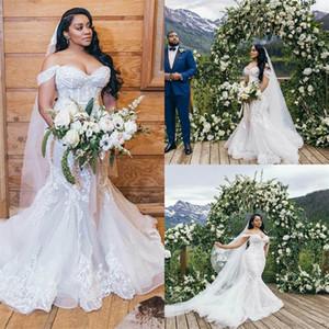 2020 Plus Size Mermaid Wedding Dresses Off-shoulder Lace Wedding Gown Backles Sweep Train Custom Made Vestidos De Novia