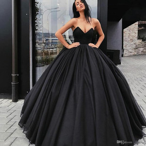 Black Ball Gown Prom Dresses Sweetheart Tulle Floor Length Plus Size Puffy Evening Gowns Abendkleider Cooktail Party Dress robes de soiree