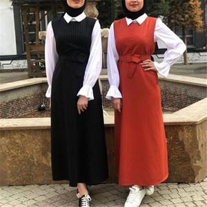 Árabe turca musulmana vestido sin mangas de las mujeres de la correa larga delgada vestido del chaleco de Dubai traje del kimono Caftan Partido Maxi ropa islámica