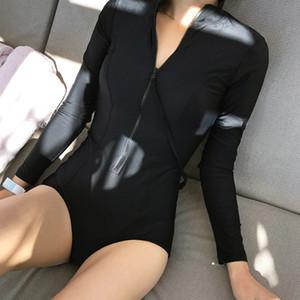 Uzun Kollu Bayan Rashguard Kadın One Piece Mayo Seksi Push Up Kadın Yüzme Sörf Suit Mayıs Bayan Plaj Erimiş Mayo T200708