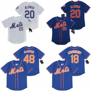 20 Pete Alonso 20/21 Temporada 48JacobdeGrom 18 Darryl Strawberry bordado costurado 100% Baseball Jerseys shirt pronto para enviar Top Quality
