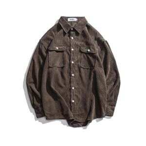 2020 neue T-Shirts Langarm Corduroy Dress Shirt Herbst beiläufige Mens-Hemd-Körper Männer lose Baju Kemeja Pria Kleidung 50CS086