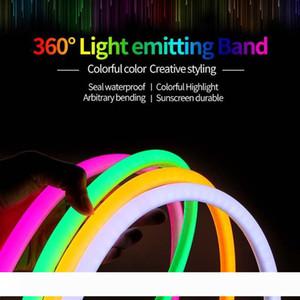 360 Grau de LED da luz de néon 220V 2835 120leds m dois fios de néon flexível tira luz 10m 20m 30m 50m 100m interior Corda fulgor externa