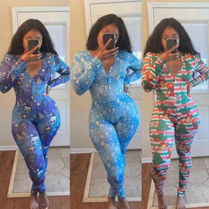 10 colori del progettista delle donne delle tute pagliaccetti sexy del V-collo profondo stampati Pantaloncini Button a maniche lunghe a tenuta Tuta Pantaloni CYW11