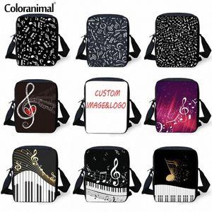 Coloranimal 패션 크로스 바디 백 피아노 Keybaord 작은 메신저 백 음악 노트 인쇄 어깨 소년 소녀 책 가방 7iRk 번호