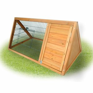 """Pawhut 46"""" Triangle Wooden Rabbit Hutch A-Frame House Chicken Coop Hamster Cage"""