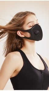 3D Diseño mascarilla de poliéster esponja con la máscara de la válvula diseñador de moda anti máscara de polvo reutilizable Wahshable individual Paquete Negro Adulto
