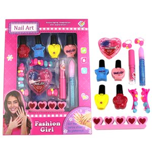 Hot Sale 12Pcs Children Pretend Play Nail Art Toy Girl Cosmetics Playset Kids Makeup Toys For Children Gifts Nail Polish Toys T200712