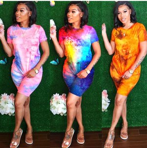Goegeous Multicolored Star Print Women Outfits Beautiful Tie-dye T Shirt + Shorts Fashion Two Pieces Sets Short Sleeves S--5XL