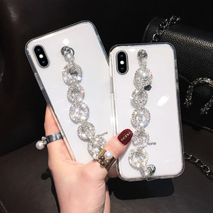 Bling Diamond Bracelet Wrist Strap Clear TPU PC Case For iPhone 11 Pro Max XS XR X 8 Samsung S10 Plus Note 10 S20 Ultra A10 A20 A30 A50 A70