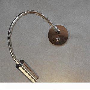 Nel corso Topoch Testata Light Reading incasso Slim Piastra braccio flessibile on off switch 3W finitura cromata LED per l'hotel Residential Auto Yacht