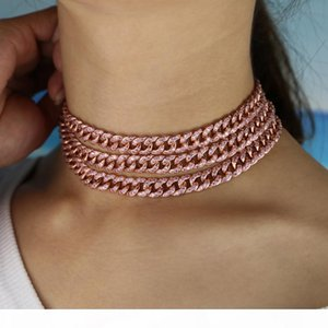 PINK girl women jewelry micro pave pink cz miami cuban link chain choker necklace female hip hop jewelry fashion