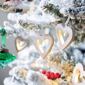 Holiday LED Love Wooden Heart Ivory Warm White Battery Powered Light String for Holiday Decoration Halloween Valentine's Day Christmas