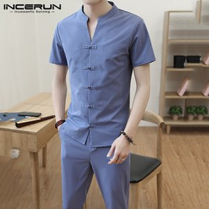 Chinese Style Men Sets V Neck Solid Short Sleeve Streetwear Button Vintage Shirt Pants Cotton Tang Suit Casual Men Sets INCERUN