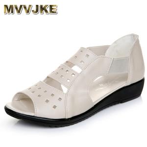 MVVJKE été femme Chaussures femme Sandales en cuir véritable sandales plates Chaussures ouvertes Casual femmes