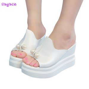 SAGACE New Fashion Sandals Women Summer Thick-Bottom Solid Hot Sale Pearl Waterproof Wedge Sandals Shoes Y200706