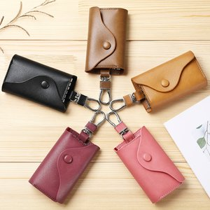 yoLsP Cowhide Cowhide box leather couple chain case men's leather couple key case women's multifunctional car waist hanging household key ch