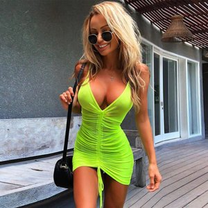 Womens Drawstring Dresses Sexy Sheer Mesh Pleated Dresses Casual Natural Color Sleeveless Dresses Women Designer Clothes